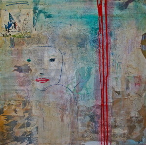 BACK TO BEAUTY.Mixed media on canvas.100x100cm