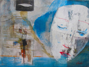 """""""GIRL IN THE WIND"""".Mixed media on wood.80x60cm."""