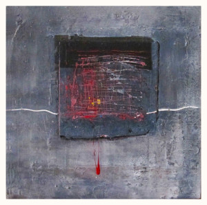"""A Piece"".50x50cm.Mixed media on wood."