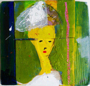 """Lady with hat"".33x34cm(unregular).Mixed media on wood."